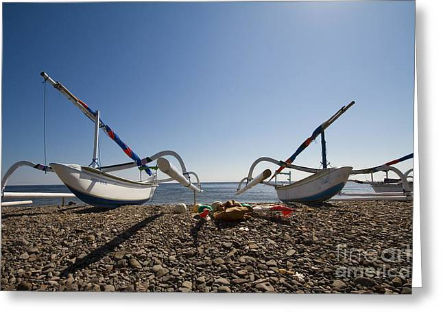 Fishing Boats Greeting Cards - Waiting for the waters Greeting Card by Bart De Rijk