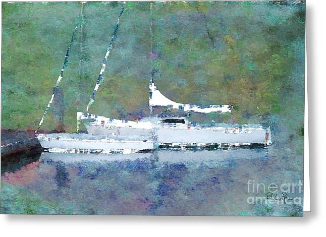Sailboats Docked Digital Art Greeting Cards - Waiting For the Wind Greeting Card by Betty LaRue