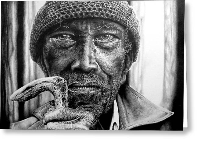 Hyper-realism Greeting Cards - Man With Cane Greeting Card by Geni Gorani