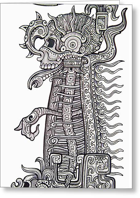 Mayan Dog Greeting Cards - Waiting For You Greeting Card by Alex Amezola