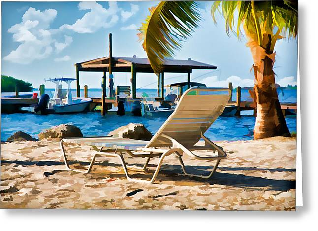 Boats At The Dock Digital Art Greeting Cards - Waiting For You on the Beach Greeting Card by Ginger Wakem