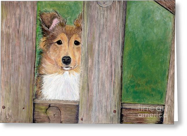 Pup Pastels Greeting Cards - Waiting Here For You Greeting Card by Barb Kirpluk