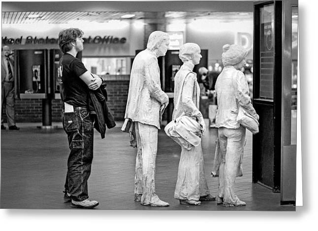 Ticket Booth Greeting Cards - Waiting in line at Grand Central Terminal 1 - Black and White Greeting Card by Gary Heller