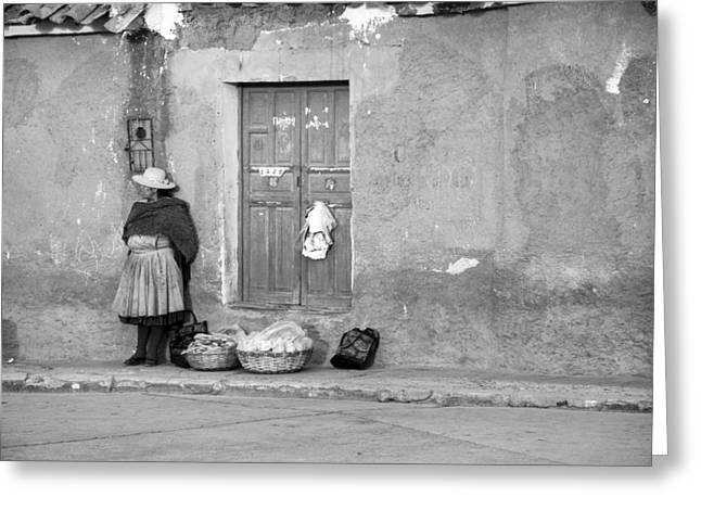Bolivia Blog Greeting Cards - Waiting in Potosi Black And White Greeting Card by For Ninety One Days