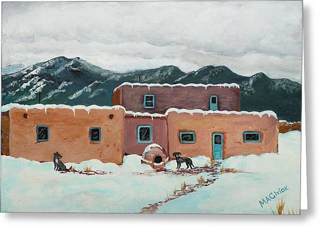 Dog In Snow Greeting Cards - Waiting in Taos Greeting Card by Mary Anne Civiok