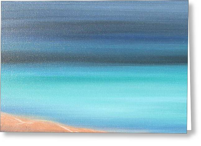 Foggy Ocean Paintings Greeting Cards - Waiting Greeting Card by Jacqueline Athmann