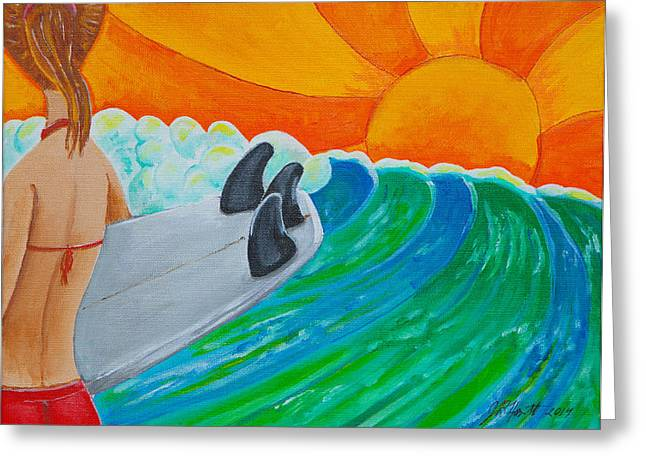 Surfer Drawings Greeting Cards - Waiting Greeting Card by Jason Honeycutt