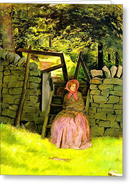Lady In Waiting Greeting Cards - Waiting Greeting Card by John Everett Millais