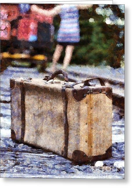 Train Depot Greeting Cards - Waiting on a train 4 Greeting Card by Edward Fielding