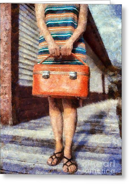 Train Depot Greeting Cards - Waiting on a train Greeting Card by Edward Fielding