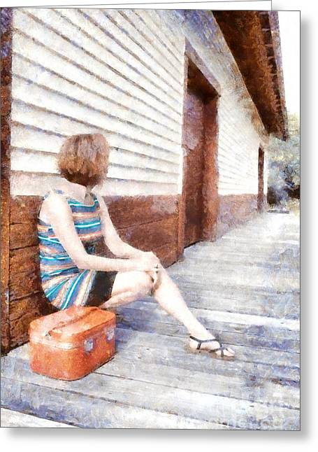 Train Depot Greeting Cards - Waiting on a train II Greeting Card by Edward Fielding