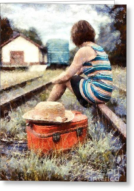 Train Depot Greeting Cards - Waiting on a train 3 Greeting Card by Edward Fielding