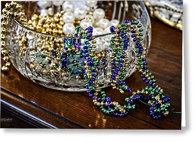 Gold Necklace Greeting Cards - Waiting on Mardi Gras Greeting Card by Andy Crawford