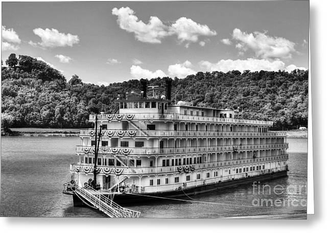 Steamboat Greeting Cards - Waiting On The Levee BW Greeting Card by Mel Steinhauer