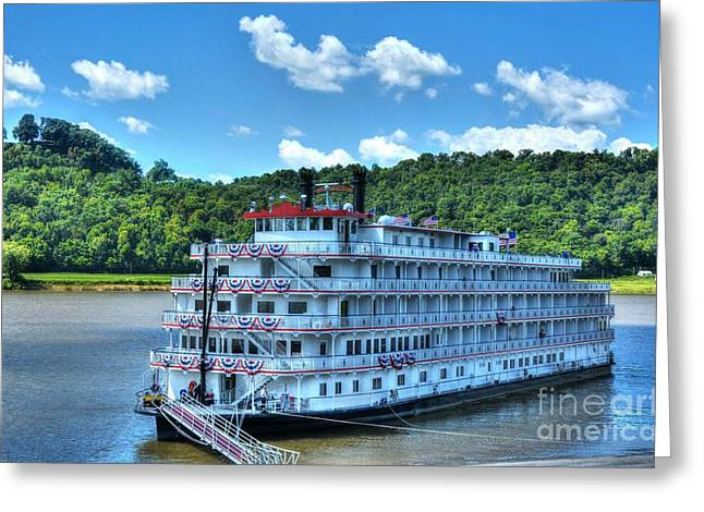 Steamboat Greeting Cards - Waiting On The Levee Greeting Card by Mel Steinhauer