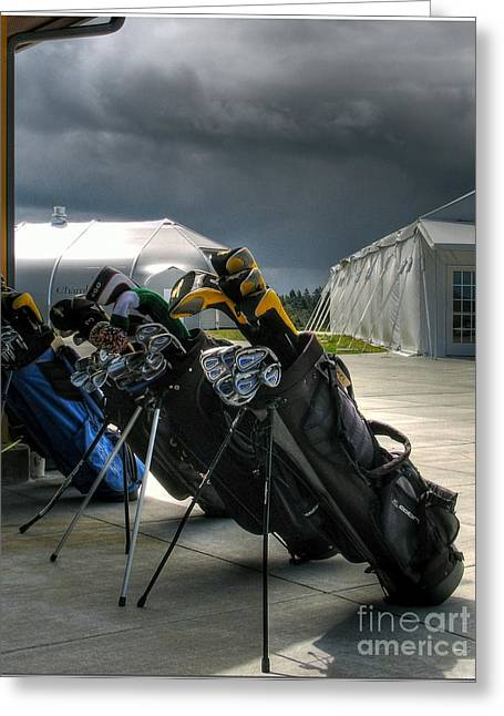 Chris Anderson Photography Greeting Cards - Waiting Out The Rain - Chambers Bay Golf Course Greeting Card by Chris Anderson