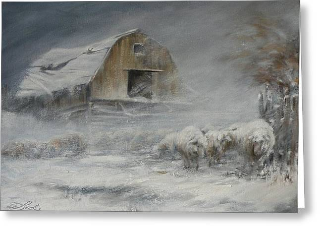 Best Sellers -  - Winter Storm Greeting Cards - Waiting out the Storm Greeting Card by Mia DeLode