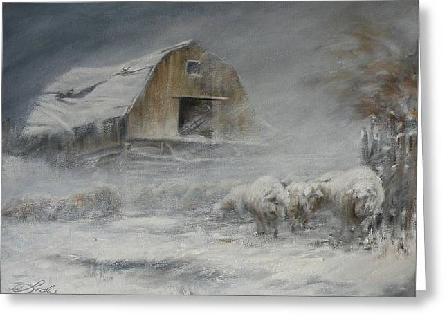 Blowing Snow Greeting Cards - Waiting out the Storm Greeting Card by Mia DeLode