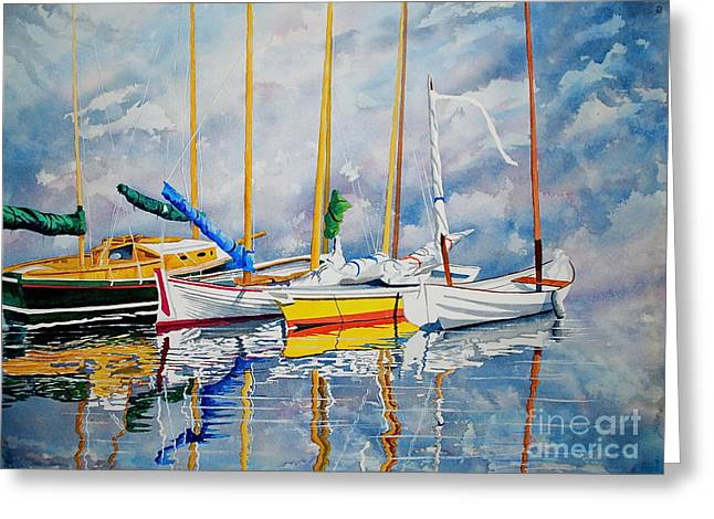 Yellow Sailboats Greeting Cards - Waiting Out The Storm Greeting Card by Stephen Abbott