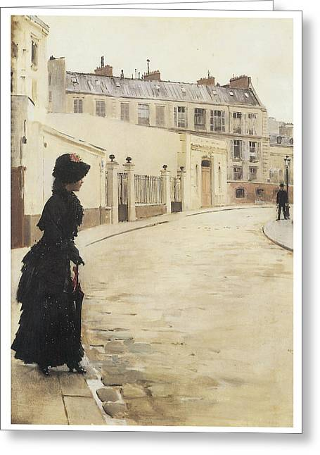 Woman In A Dress Greeting Cards - Waiting Paris Rue De Chanteaubriand Greeting Card by Jean Beraud