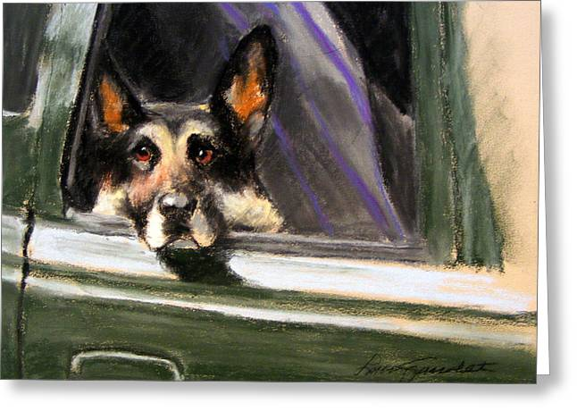 Guard Dog Pastels Greeting Cards - Waiting Patiently Greeting Card by Lenore Gaudet