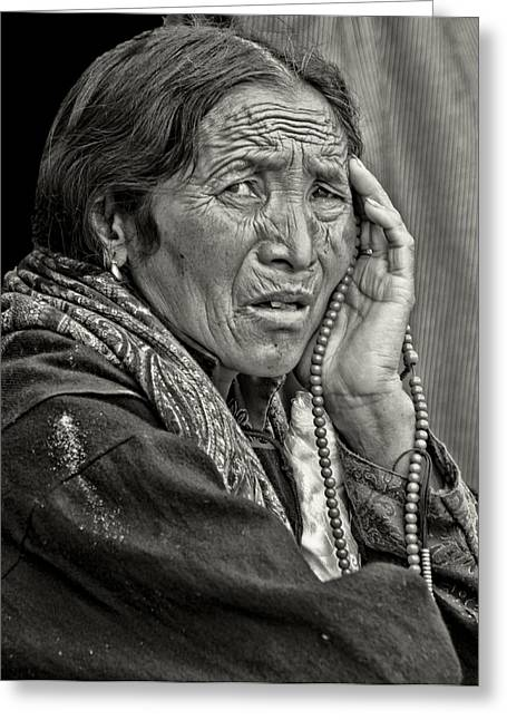 Tibetan Buddhism Greeting Cards - Waiting Pensively For the Dalai Lama  Greeting Card by Don Schwartz