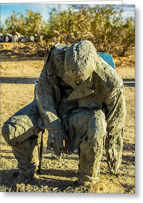 Seated Sculptures Greeting Cards - Waiting Soldier Greeting Card by James Williams
