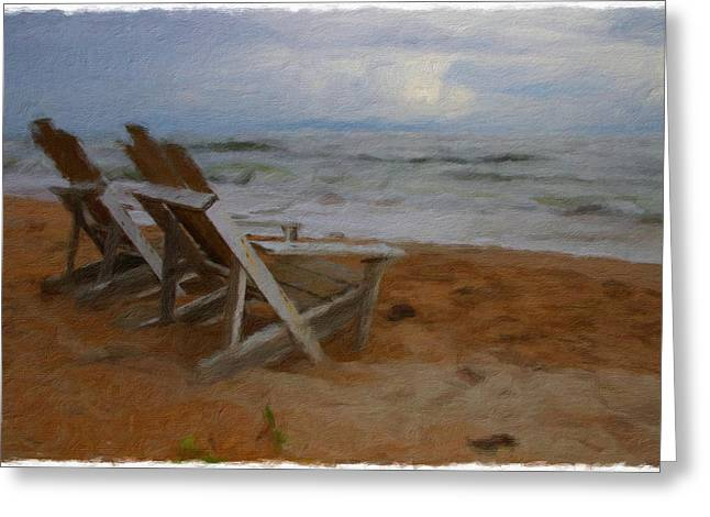 Adirondack Chairs On The Beach Greeting Cards - Waiting Still Greeting Card by Alice Gipson