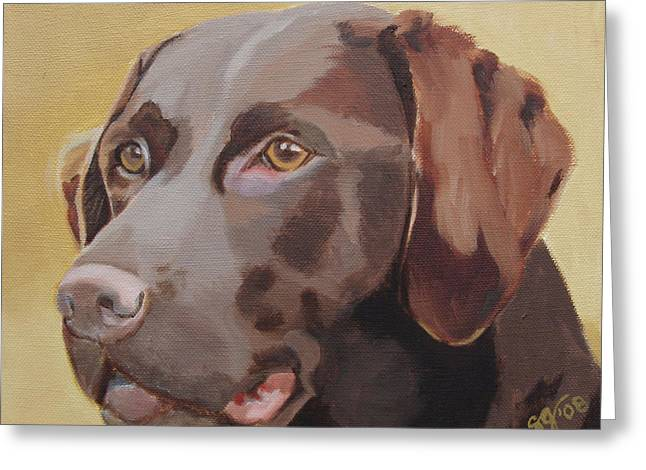 Chocolate Lab Greeting Cards - Waiting Greeting Card by Susan Garriques