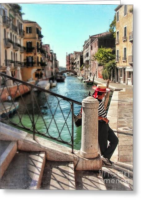 Gondolier Greeting Cards - Waiting Greeting Card by Sylvia Cook