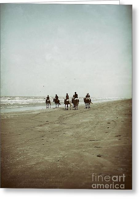 Wave Riders Greeting Cards - Riding with the Tide Greeting Card by Trish Mistric
