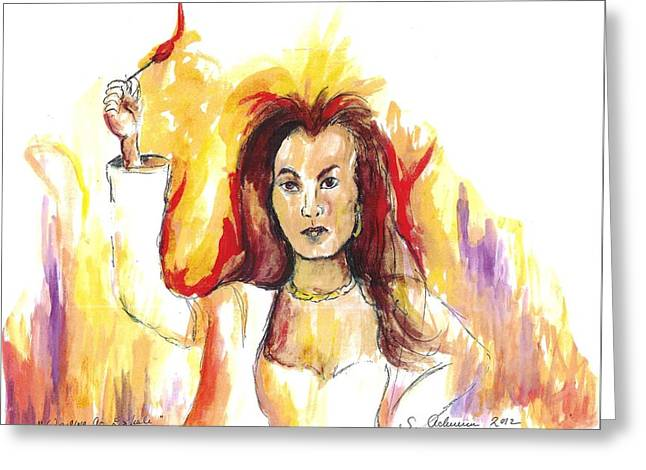Waiting To Exhale Greeting Cards - Waiting to Exhale  -  Bernie on Fire Greeting Card by Suzanne Ackerman