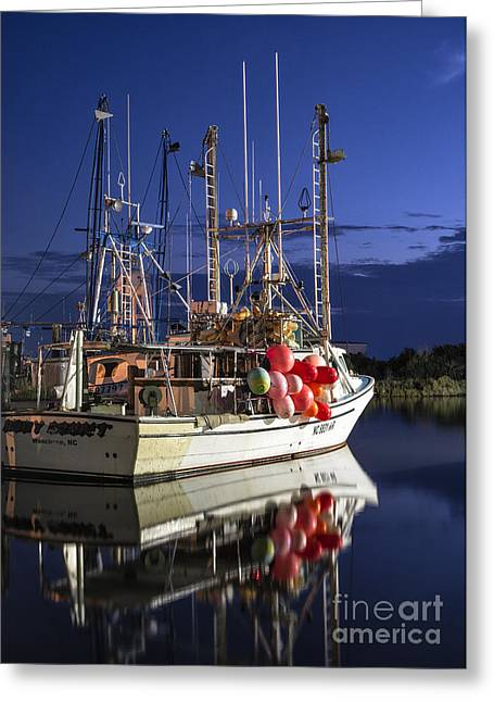 Working Boats Greeting Cards - Waiting to Fish Greeting Card by Terry Rowe