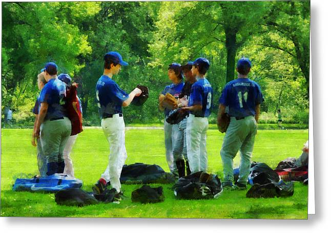 Waiting to Go to Bat Greeting Card by Susan Savad