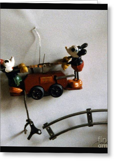 Ventura California Greeting Cards - Waiting to play. Mickey Mouse and Minnie on Lionel Pullman Train car with key and track. Greeting Card by Cathy Peterson