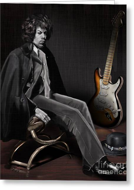 Super Stars Greeting Cards - Waiting to Play - The  Jimi Hendrix Series Greeting Card by Reggie Duffie