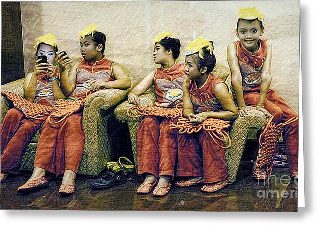Candid Group Portraits Greeting Cards - Waiting To Preform Greeting Card by Ian Gledhill
