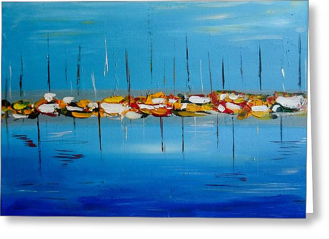 Masts Greeting Cards - Waiting to Sail - Abstract Painting Greeting Card by Eliza Donovan