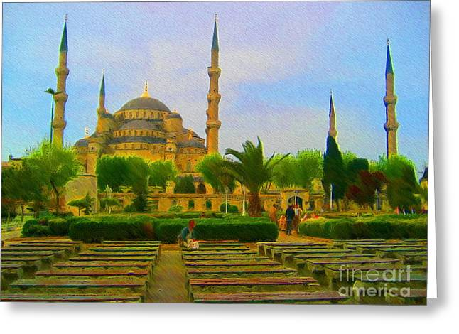 Istanbul Mixed Media Greeting Cards - Waiting to see the Blue Mosque Greeting Card by John Kreiter
