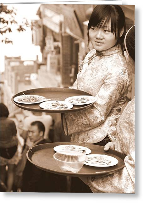 Waitress Photographs Greeting Cards - Waiting Waitresses Greeting Card by Valentino Visentini