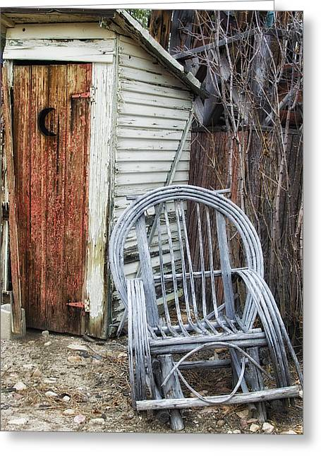 Antique Outhouse Greeting Cards - Waiting Your Turn Greeting Card by Camille Lopez
