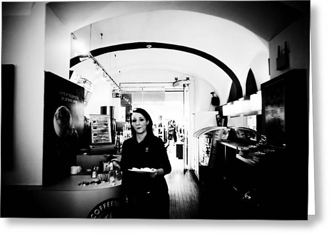 Waitress Greeting Cards - Waitress Greeting Card by Anton Ishmurzin