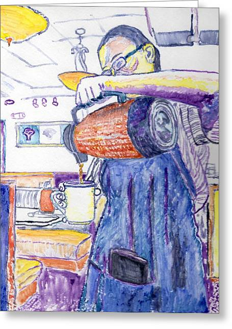 Waitress Greeting Card by Peter Cochran