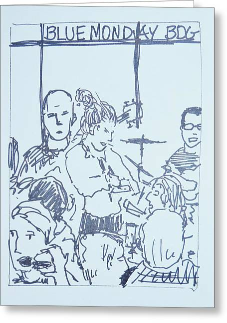 Waitress Drawings Greeting Cards - Waitress takes order Blue Monday Jam Greeting Card by James  Christiansen