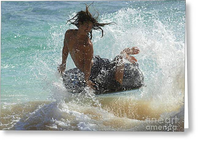 Beach Photos Greeting Cards - Wake Boarder Hawaii Greeting Card by Bob Christopher