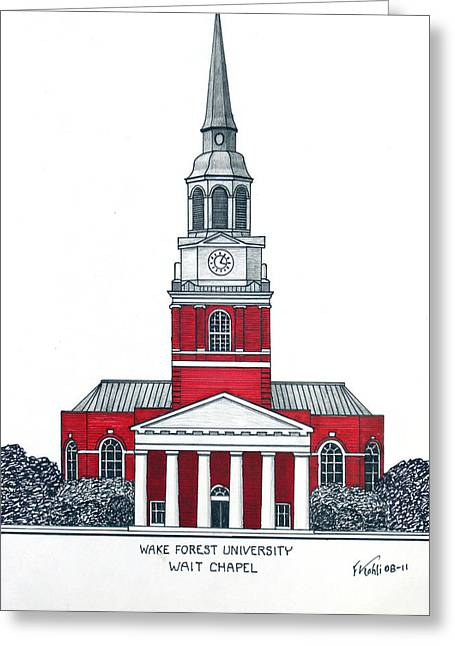 Chapel Mixed Media Greeting Cards - Wake Forest Greeting Card by Frederic Kohli