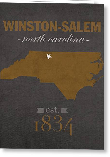 Wake Greeting Cards - Wake Forest University Demon Deacons Winston Salem NC College Town State Map Poster Series No 121 Greeting Card by Design Turnpike