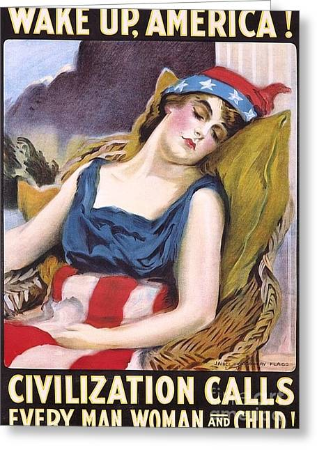 Flagg Greeting Cards - Wake Up America Greeting Card by Pg Reproductions