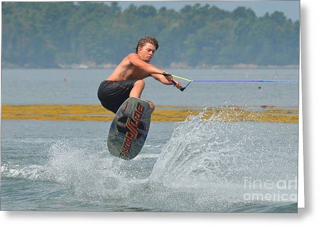 Ollie Greeting Cards - Wakeboarder in the Air Greeting Card by DejaVu Designs