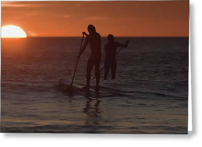 Surf Silhouette Greeting Cards - Wakeboarding At Sunset Los Lances Beach Greeting Card by Ben Welsh